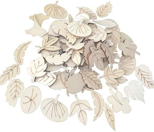 BESTOYARD 木片 木製スライス 葉の形 DIY素材 木材チップ 工芸品 木製カード 知育玩具 部屋飾り 手芸材料 150