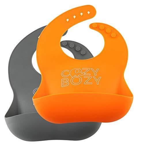 Waterproof Silicone Bibs Set – BPA Free Baby Bibs, Feeding Spoon and Pacifier (Gray & Orange)