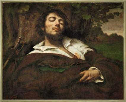 """Tableau avec cadre: Gustave Courbet, """"L'homme blesse"""", 71 x 56 - Aluminium Classic: Doré polie"""