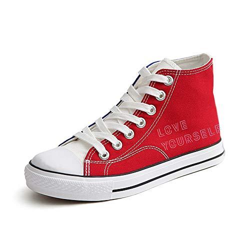 Popular Zapatos Lazada Personalidad Red65 Ayuda Patchwork Lona Unisex Estudiantes Bts Alta De xqnzF0wB45