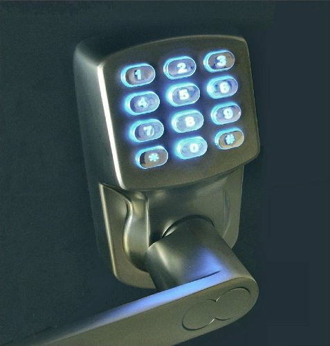 electronic keyless door lock set satin nickel for import it all. Black Bedroom Furniture Sets. Home Design Ideas