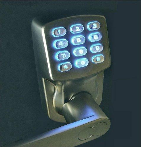 electronic keyless door lock set satin nickel for import it all. Black Bedroom Furniture Sets. Home Design Ideas
