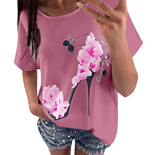 Casual Loose Short Sleeve T-Shirts Women High Heels Printed Beach Blouse Top Pink