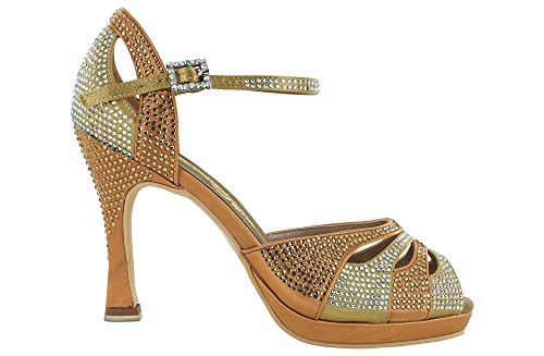 scarpa da ballo plateau punta aperta in raso flesh tempestata di strass oro e aurora boreale