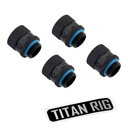 """XSPC G1/4"""" Male to Female Rotary Fitting, Matte Black, 4-Pack"""
