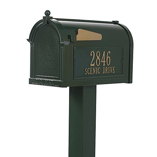 (Whitehall Premium Mailbox Package with Custom Plaques and Post (Green/Gold))