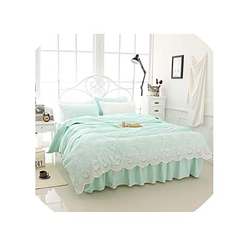 - White Lace Bedding Set Cotton Twin Full Queen King Size Bed Skirt Set Duvet Cover Girls Kids Bed Cover Set Bedclothes Pillowcase,3,Full Size 4Pcs