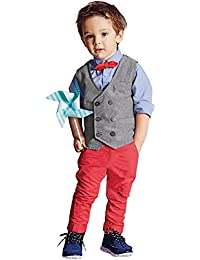 Boys Waistcoat, Kids Suits & Gentleman Sets with Vest + Bowknot Shirt + Pants for Daily Wear Special Occasion