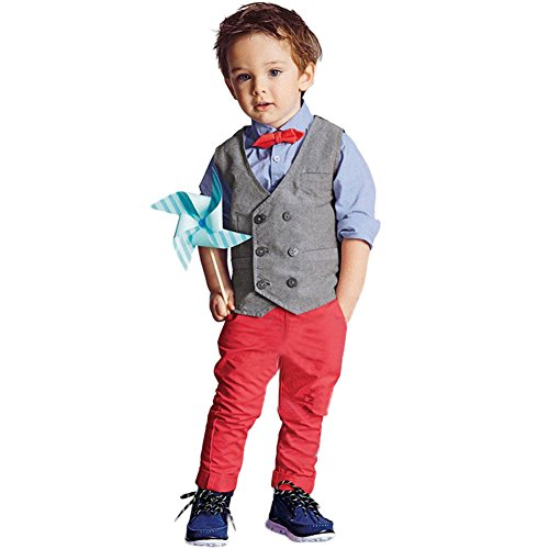 FAVOLOOK Boys Waistcoat, Kids Suits ? Gentleman Sets with Vest + Bowknot Shirt + Pants for Daily Wear Special Occasion, Gray, 7T -