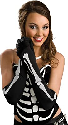 Toynk Toys - Long Black Gloves With Bone Design Adult - One-Size