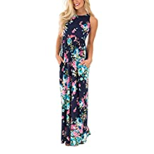 Assivia Women's Floral Print Sleeveless Pockets Tunic Long Maxi Casual Dress