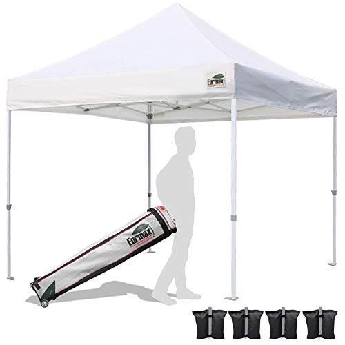 Eurmax 10'x10' Ez Pop Up Canopy Tent Commercial Instant Shelter with Heavy Duty Roller Bag (White)