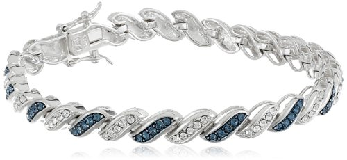 Sterling Silver Montana Blue and White Swarovski Elements Crystal Alternating Twisted Bracelet (4mm), 7.25