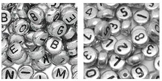 Plastic Silver 7mm Round Alphabet Beads & Number Beads Set, 1500 beads total - 1000 Alphabet Beads +