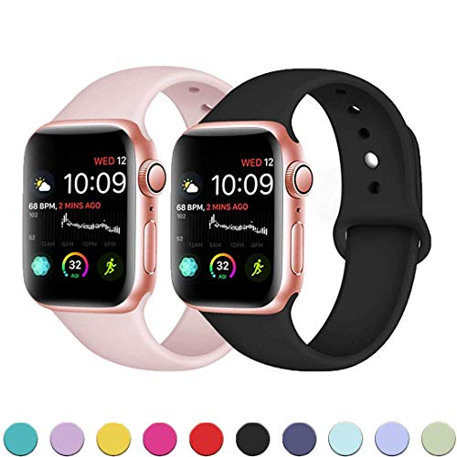 KINGCOOL Replacement Bands Compatible with Apple Watch 38mm 40mm 42mm 44mm Soft Durable Silicone iWatch Sport Replacement Bands foriWatch Series 5/4/3/2/1