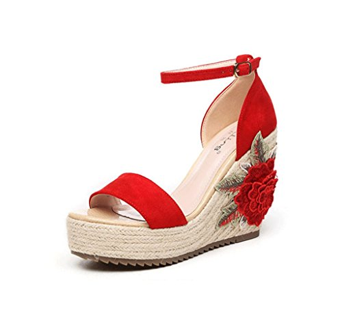 Wedge Sandals Braided Thick Sandals Bohemian Style Ankle Shoes (Color : Red, Size : 36)