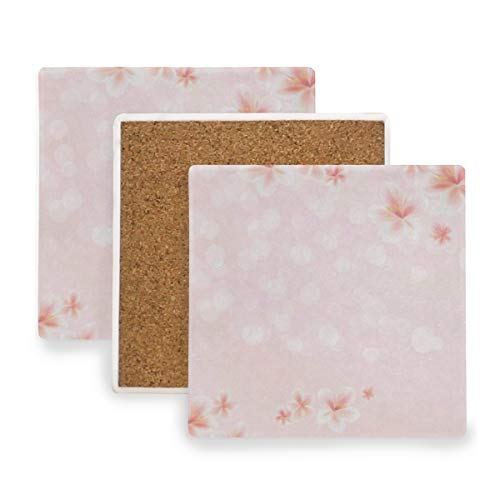 Summer Spring Floral Flowers Cherry Coasters, Protection for Granite, Glass, Soapstone, Sandstone, Marble, Stone Table - Perfect Cork Coasters,Square Cup Mat Pad for Home, Kitchen or Bar Set of 2