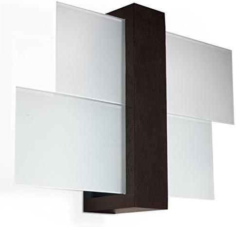 Sollux Lighting 1 SL.0075 Lámpara de pared cuadrada para salón, cristal y madera (wengué) LED E 27 LEUCHTEN Bei Amazon por el precio más barato