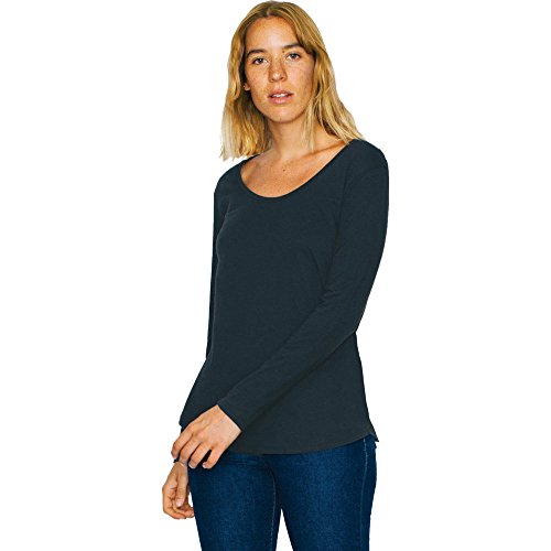 ladies Ultra Sleeve wash Black Long T American shirt Cotton Womens Apparel qt0CE