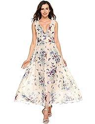 Se Miu Women S Floral Printed Sleeveless Chiffon Party Cocktail Long Maxi Dress Green S