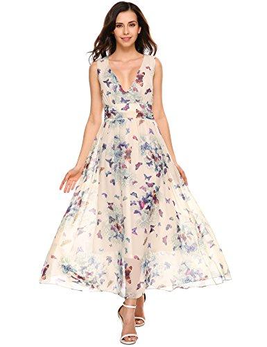SE MIU Women's Sleeveless V Neck Fit and Flare Maxi Swing Chiffon Dress, Green, - Miu Butterfly Miu