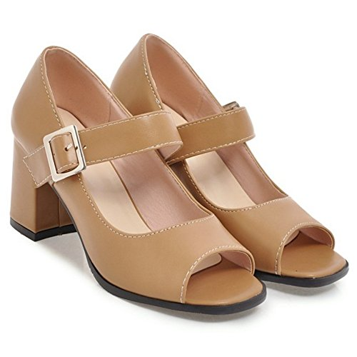 Women's Toe Summer Court Peep TAOFFEN Apricot Heels 44 Shoes PRxvq1wn