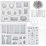 TOODOO 119 Pieces Jewelry Casting Molds and Tools Set, Include Assorted Styles Silicone Resin Molds, Stirrers, Droppers and Screw Eye Pins for DIY Jewelry Craft Making
