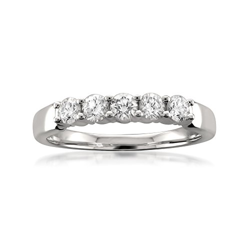 Platinum 5-Stone Round Diamond Bridal Wedding Band Ring (1/2 Cttw, H-I, SI1-SI2)