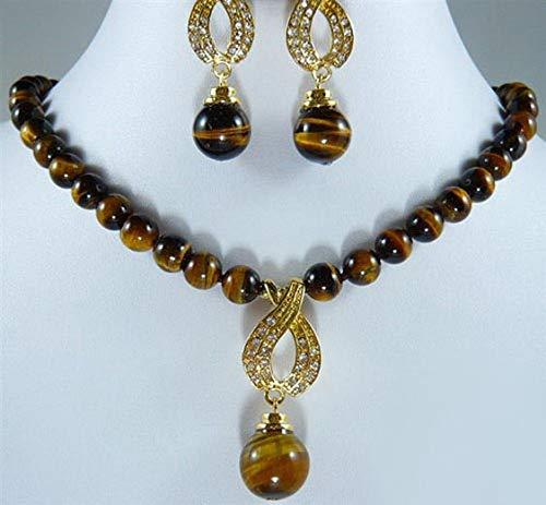 FidgetFidget Tigereye Tiger's Eye Opal 18KGP Crystal Pendant Necklace Earrings Set