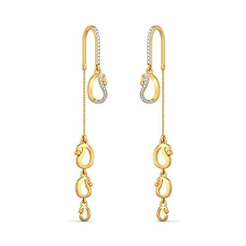 Or jaune 18K 0,2CT TW White-diamond (IJ | SI) Pendants d'oreilles