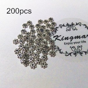 Kingmarc 200pcs 4mm Tibetan Antique Silver Tone Daisy Wheel Flower Charm Loose Spacer Metal Beads For Jewelry Making Needlework Accessories