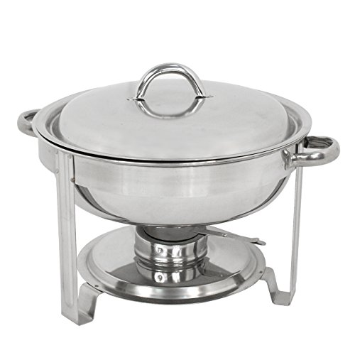 (Deluxe Stainless Steel Chafing Dish Round Chafer with Lid 5 Quart,Dinner Serving Warmer Full Size)