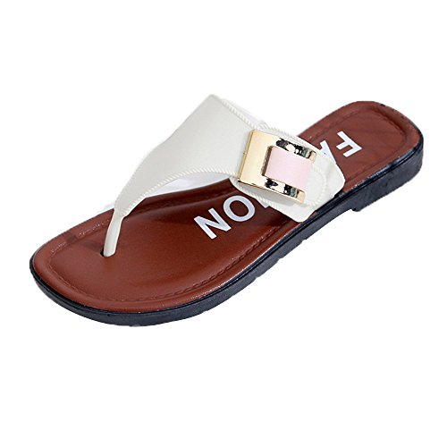 MILIMIEYIK Slide Sandals Women Heel, Leather Sandals,Flats,Bohemian Sandals,Women's Shoe,Flip Flops,Slip On Shoe Flops Shoes White -