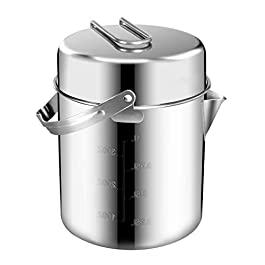 Chihee Camping Kettle Stainless Steel Outdoor Cooking Kettle 1.2L Lightweight Compact Camping Pot Teakettle Hiking…