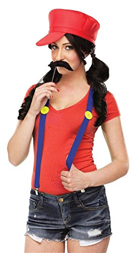 [Video Game Gal Mario Luigi Brothers Hat Moustache Suspenders Womens Costume Kit] (Female Videogame Characters Costumes)