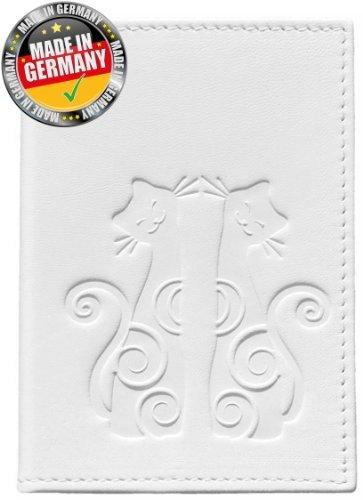 OPTEXX® RFID Reisepass Schutzhülle Baltica Katze Weiß TÜV geprüft und zertifiziert Baltica blanc Kitty