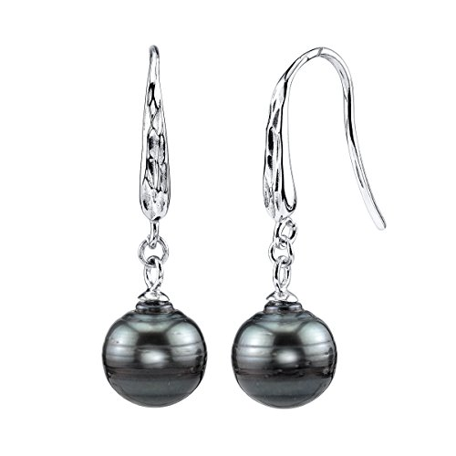 THE PEARL SOURCE 10-11mm Genuine Baroque Black Tahitian South Sea Cultured Pearl Roxy Earrings for Women (Tahitian Black Pearl Genuine)