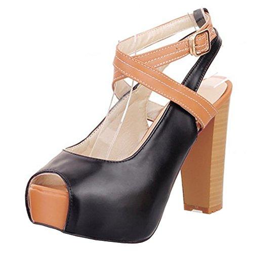 FANIMILA Women Elegante Peep Toe Plataforma Sandals Open Back Tacon Ancho Zapatos Black