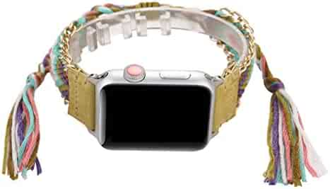 Juzzhou Watch Band For Apple Watch iWatch 40mm/44mm Series 4 Weave Replacement With Metal Adapter