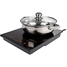 "Rosewill 1800W 5 Pre-Programmed Settings Induction Cooker Cooktop, Included 10"" 3.5 Qt 18-8 Stainless Steel Pot, Gold, RHAI-16002"