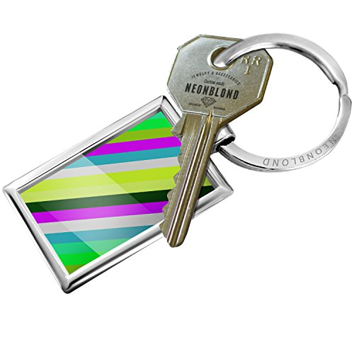 Diagonal Stripes Ring (Keychain diagonal-stripe design / pattern - NEONBLOND)
