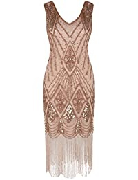 Women 1920s Gatsby Cocktail Sequin Art Deco Flapper Dress