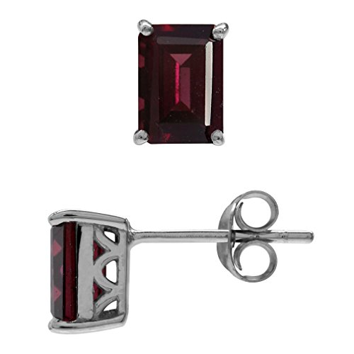(2.7ct. Natural Rhodolite Garnet White Gold Plated 925 Sterling Silver Stud/Post Earrings)
