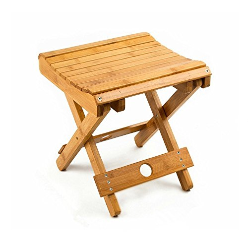 100% Natural Bamboo Folding Stool For Shaving Shower Foot Rest 12