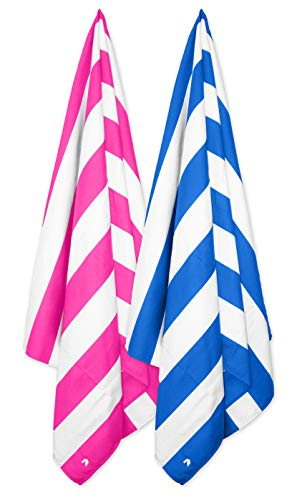 Cabana Beach Towels - 2 Pack (Stripe Bahamian Pink, Stripe Caribbean Blue) The Original Sand Free Microfiber Beach, Pool & Tr
