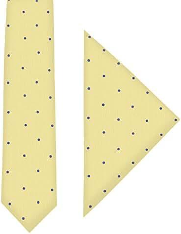 Gold Blue Polka Dot Skinny Tie & Pocket Square Set | Poka Dot Tie | Tie & Hanky Combo