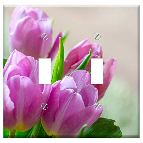 Switch Plate Double Toggle - Tulips Early Bloomer Spring Blossom Bloom Flower