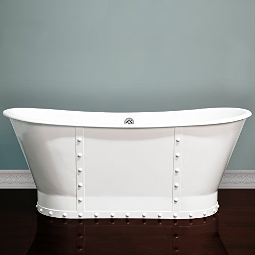 67 inch Cast Iron Pedestal Dual Ended Slipper Skirted Bathtub -