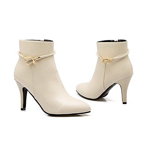 AgooLar Women's PU Low Top Solid Zipper High-Heels Boots Beige 1uyvmIQlVo
