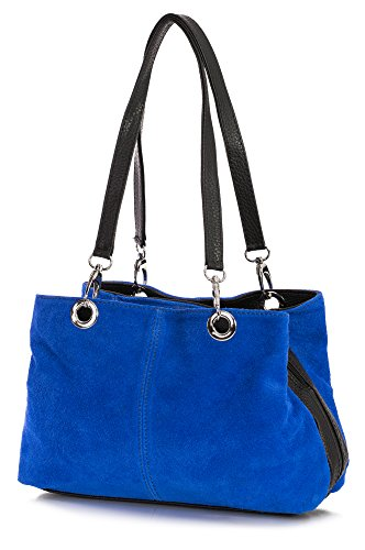 doble en 30x20x10 Asa Bolso para cm y LxAxP Piel Cobalto Detalle Dama Hombro Gamuzada italiana Azul Auténtica Pequeño Multibolsillos BHBS Negro con de OSYxwa7a